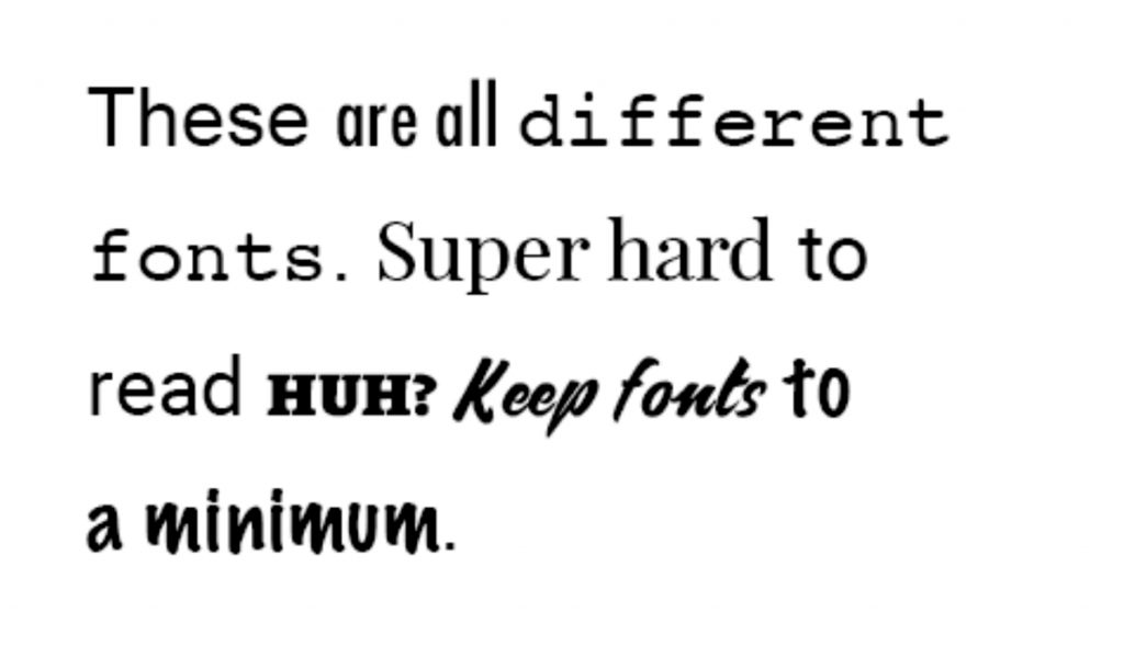 Example of competing fonts